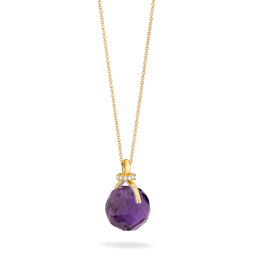 Diamond & Faceted Dark Amethyst Pendant Necklace Gold – Knot Necklace | Yael Sonia