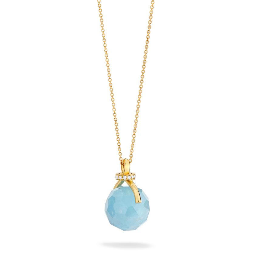 Diamond & Faceted Aquamarine Pendant Necklace Gold – Knot Necklace | Yael Sonia