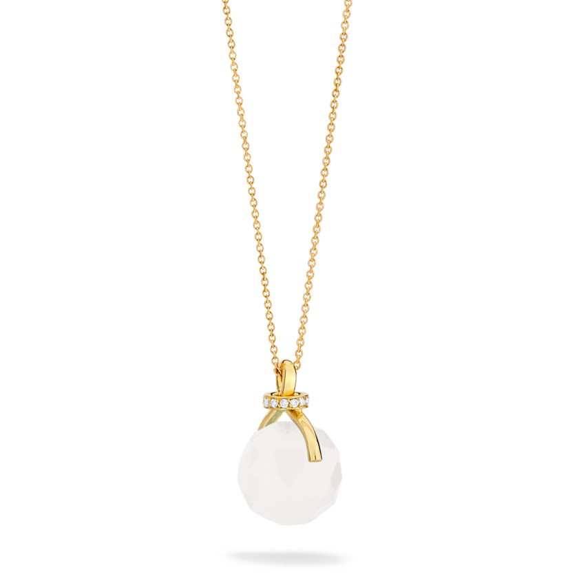 Diamond & Faceted Milky Quartz Pendant Necklace Gold – Knot Necklace | Yael Sonia