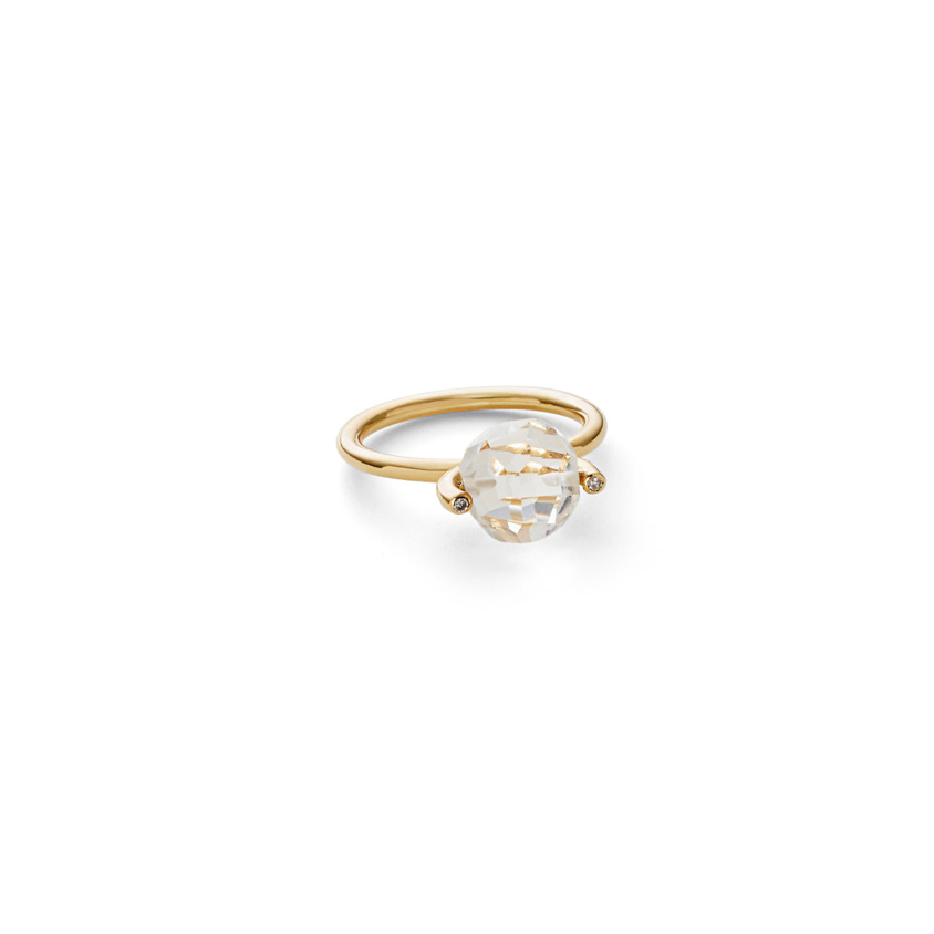 18k Gold Diamond & Faceted Quartz Stacking Ring – Small Faceted Brilliant Fancy Stacking Ring | Yael Sonia