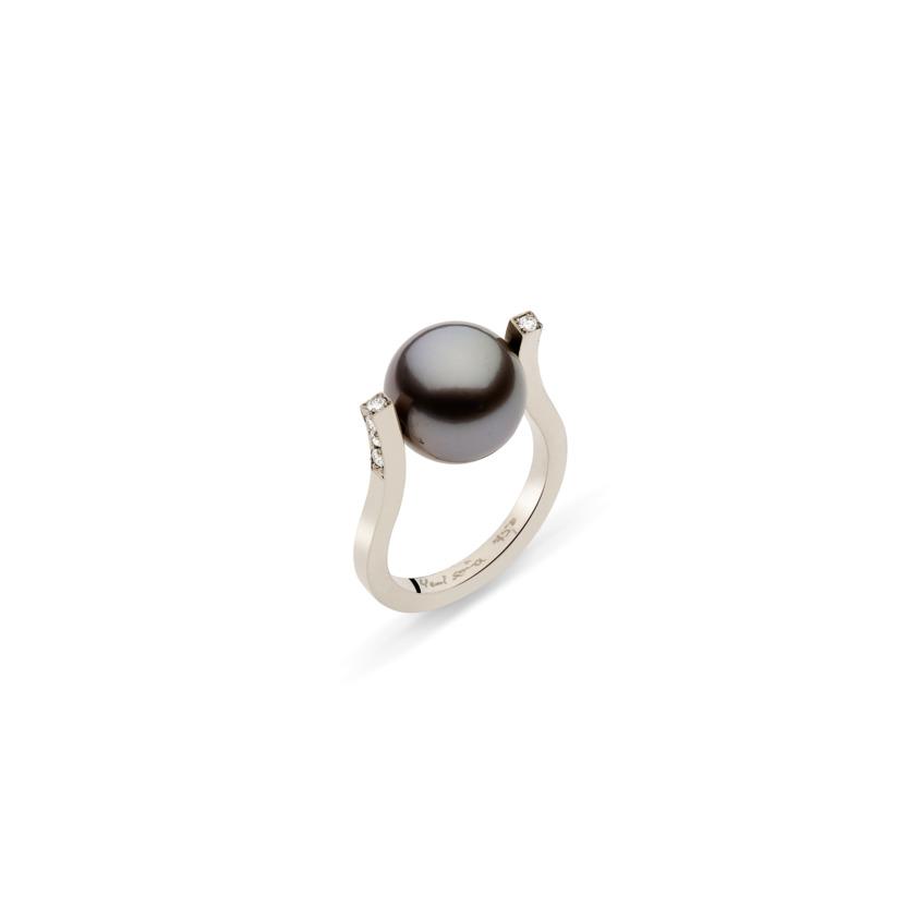 Elegant 18k White Gold Diamond & Tahitian Pearl Ring – Twist Ring | Yael Sonia