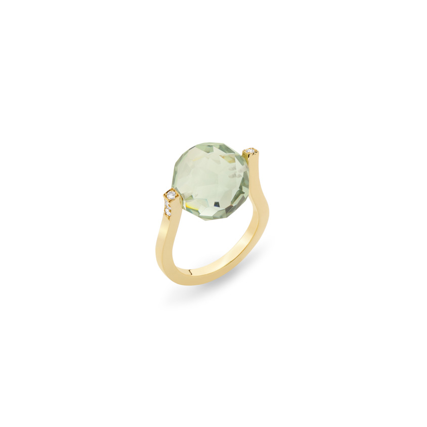18k Gold, 0.12ct Diamonds & Faceted Prasiolite Ring – Small Twist Ring | Yael Sonia