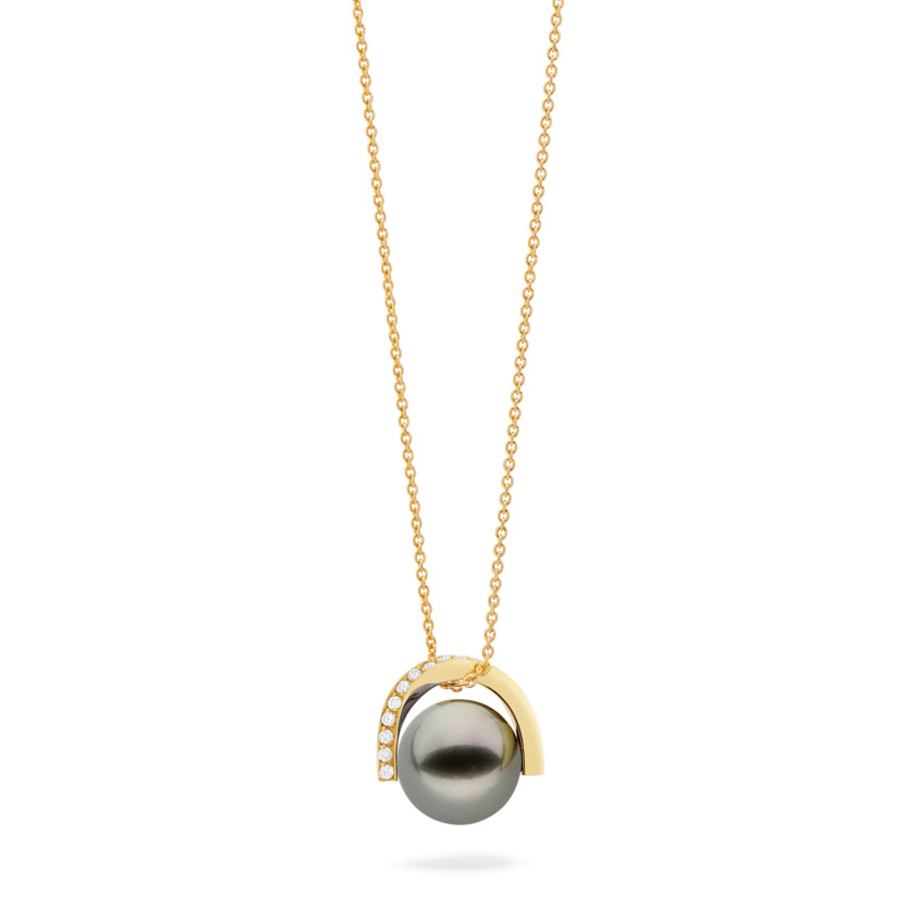 Classic Gold Diamond & Tahitian Pearl Necklace – Twist Small Pendant | Yael Sonia