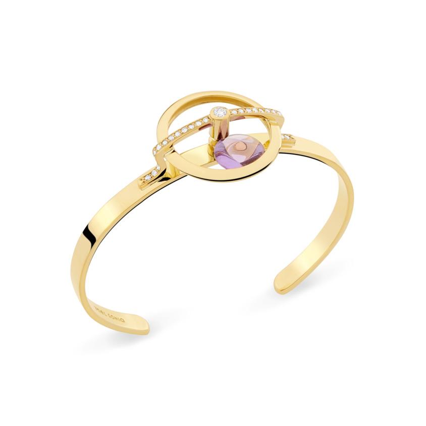 18k Yellow Gold Diamonds & Spinning Dark Amethyst Bracelet Cuff – Spinning Top Spinning Cuff   Yael Sonia