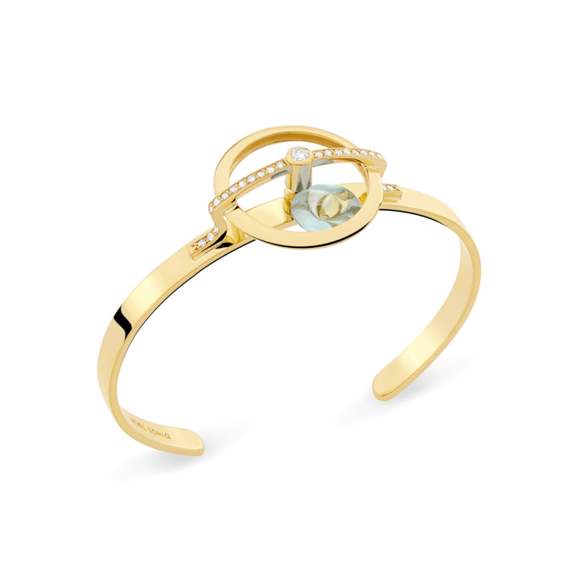 18k Yellow Gold Diamonds & Spinning Blue Topaz Bracelet Cuff – Spinning Top Spinning Cuff | Yael Sonia