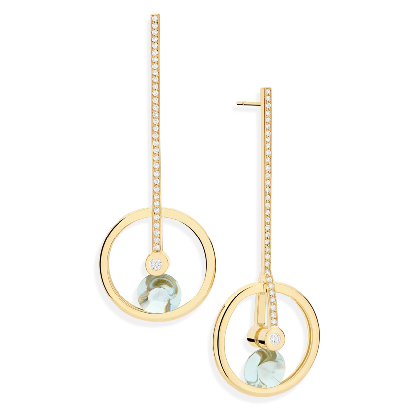 Motion Gold Diamond & Blue Topaz Earrings – Spinning Top Round Earrings | Yael Sonia