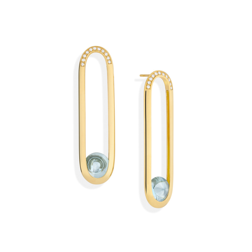 Gold Long Diamond & Blue Topaz Earrings – Spinning Top Line Long Earrings | Yael Sonia