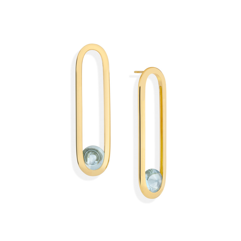 Gold Long Blue Topaz Earrings – Spinning Top Line Long Earrings | Yael Sonia