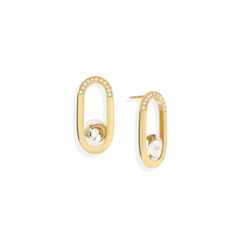 18k Yellow Gold Motion Diamond & Quartz Earrings – Spinning Top Line Earrings | Yael Sonia