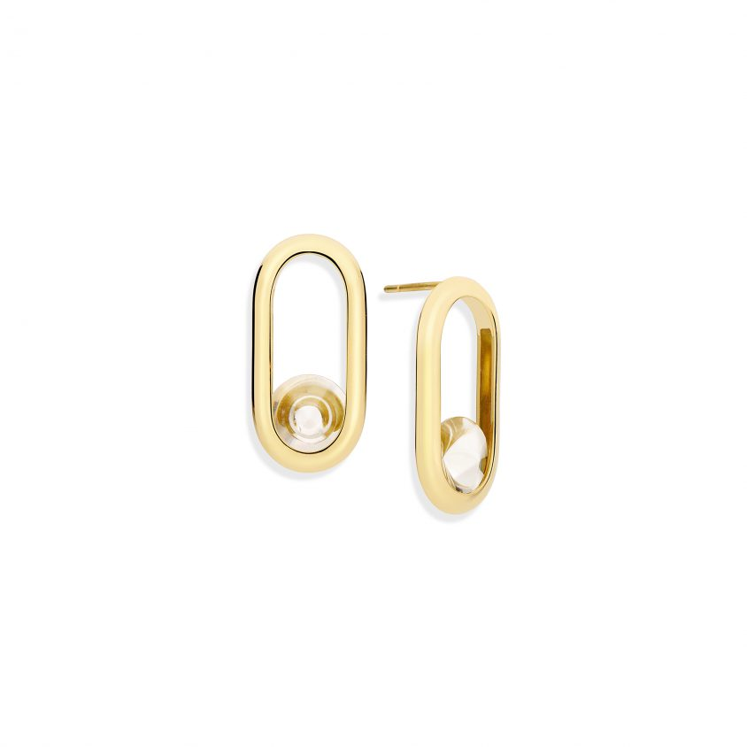 18k Yellow Gold Motion Quartz Earrings – Spinning Top Line Earrings | Yael Sonia
