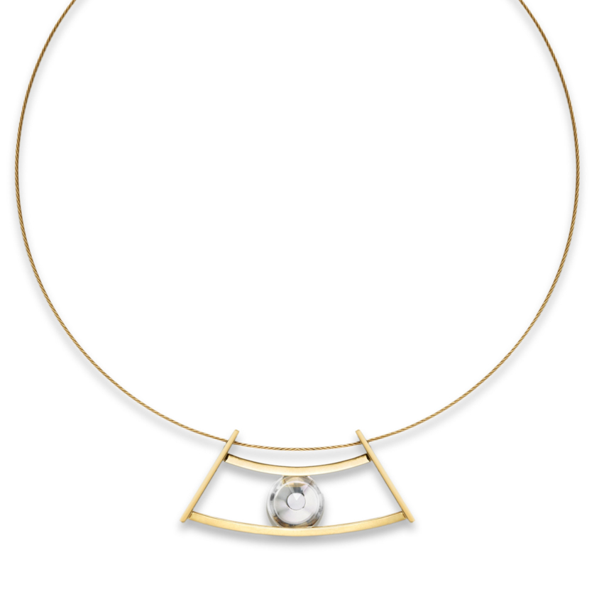 18k Yellow Gold Quartz Spinning Necklace – Spinning Top Curve Pendant | Yael Sonia