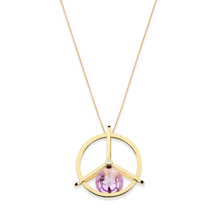 18k Gold Diamond & Spinning Dark Amethyst Necklace – Small Spinning Top Spinning Pendant | Yael Sonia