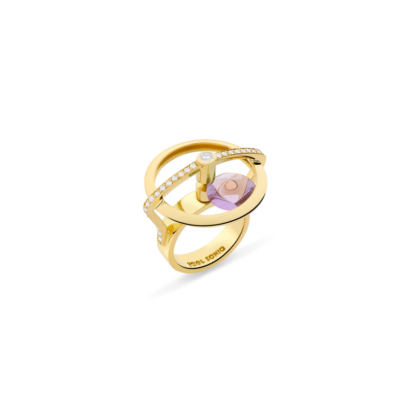 18k Yellow Gold Diamonds & Spinning Dark Amethyst Ring – Spinning Top Spinning Ring | Yael Sonia