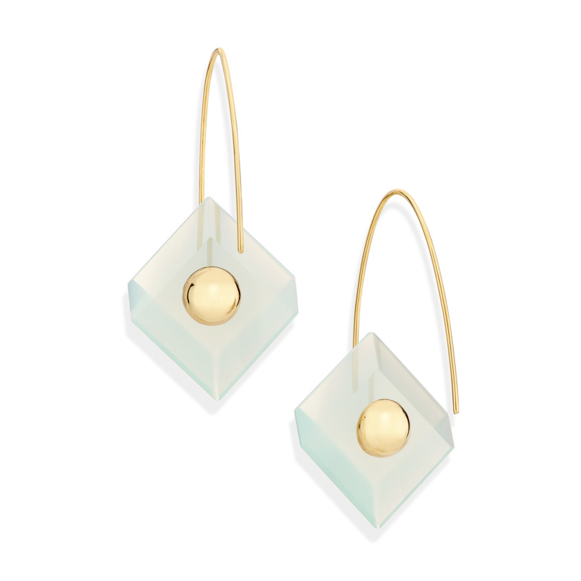 18k Yellow Gold, Square Aqua Chalcedony Earrings – Reverse Fit Square Earrings | Yael Sonia