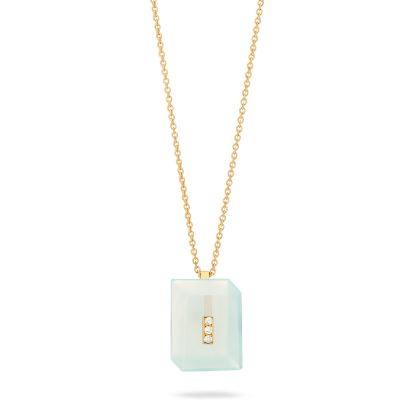 Gold Diamond & Aqua Chalcedony Necklace – Deco Rectangle Pendant | Yael Sonia