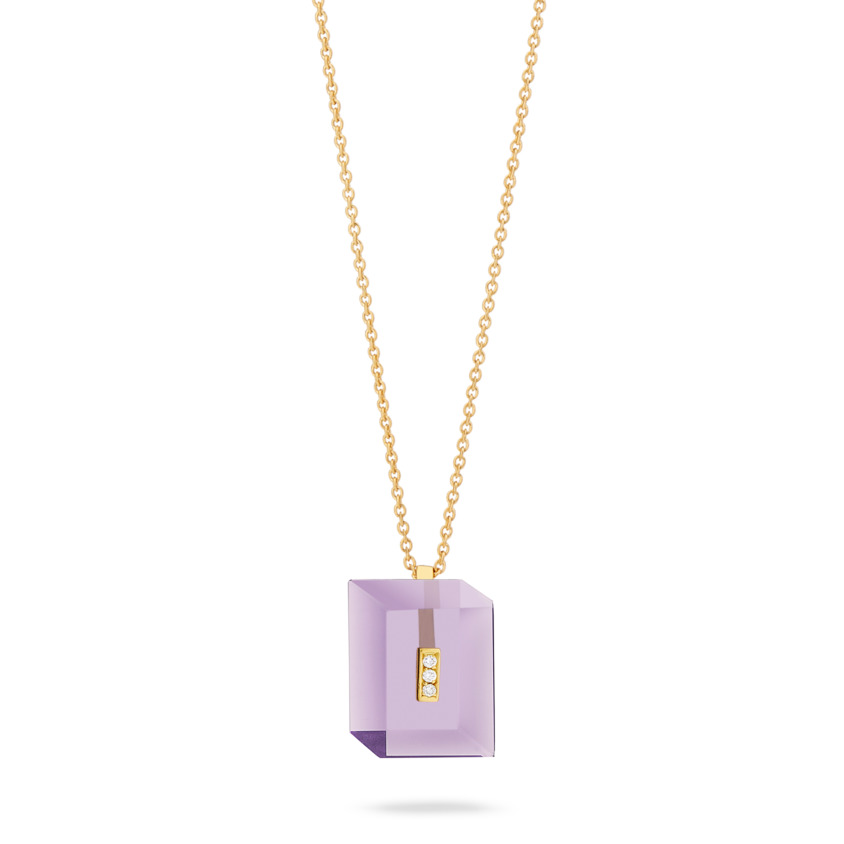 Gold Diamond & Dark Amethyst Necklace – Deco Rectangle Pendant | Yael Sonia