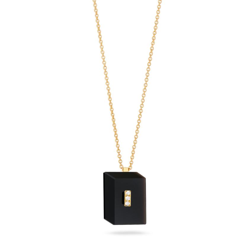 Gold Diamond & Onyx Necklace – Deco Rectangle Pendant | Yael Sonia