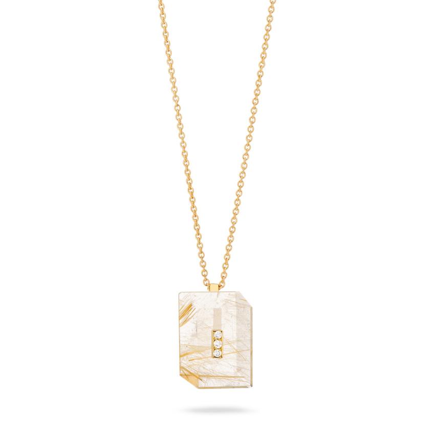 Gold Diamond & Gold Rutilated Quartz Necklace – Deco Rectangle Pendant   Yael Sonia