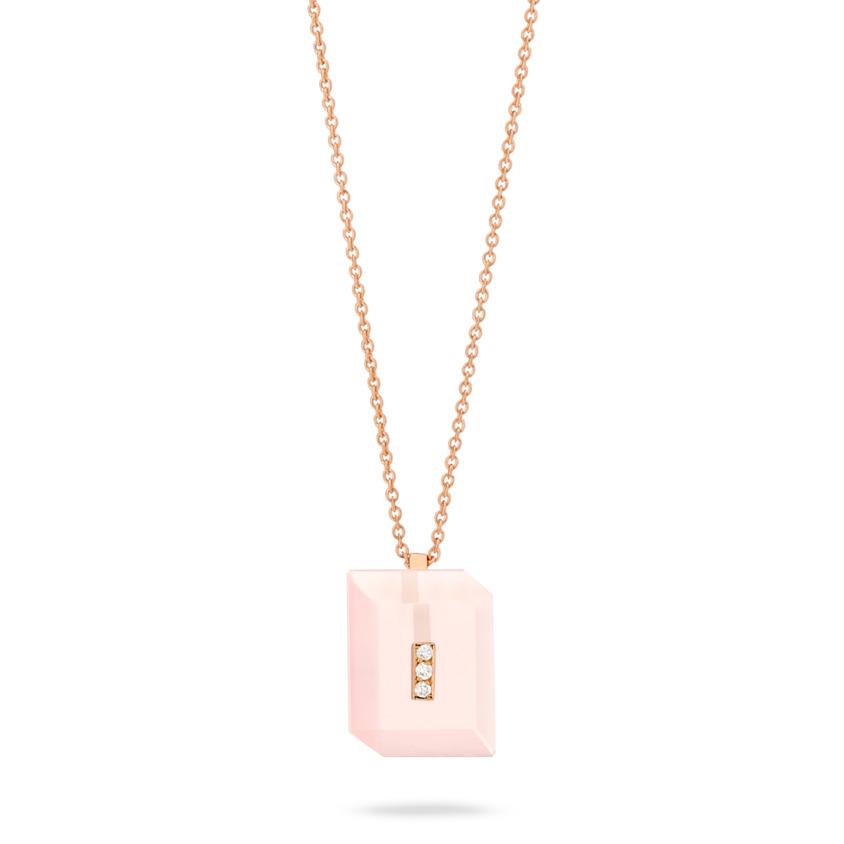 Rose Gold Diamond & Rose Quartz Necklace – Deco Rectangle Pendant | Yael Sonia