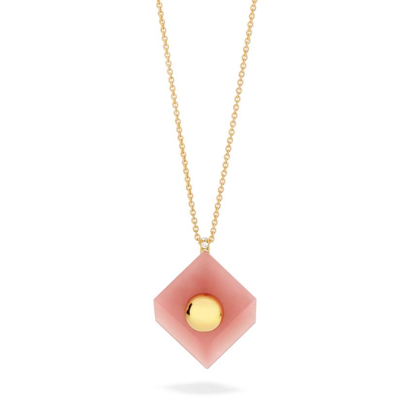 18k Yellow Gold Guava Quartz Pendant Necklace – Deco Square Pendant – White Diamond | Yael Sonia