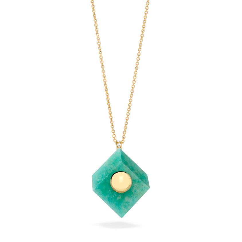 18k Yellow Gold Amazonite Pendant Necklace – Deco Square Pendant – White Diamond | Yael Sonia