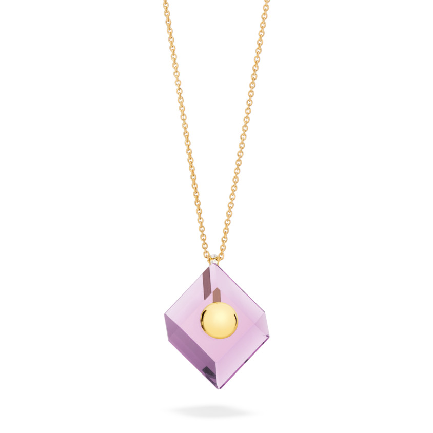 18k Yellow Gold Amethyst Pendant Necklace – Deco Square Pendant – White Diamond | Yael Sonia