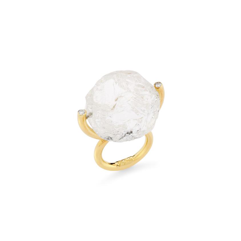 Gold, White Diamond & Large Quartz Ring – Hammered Brilliant Fancy Ring | Yael Sonia