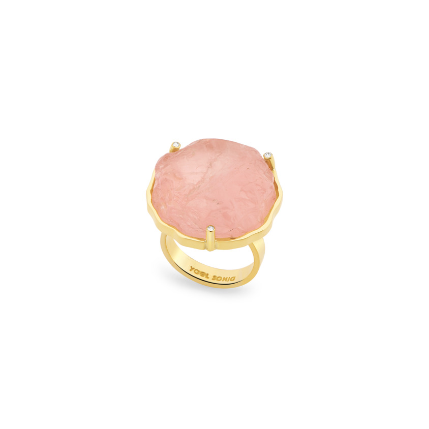 Yellow Gold, Diamond & Rose Quartz Cocktail Ring – Hammered Cocktail Ring | Yael Sonia