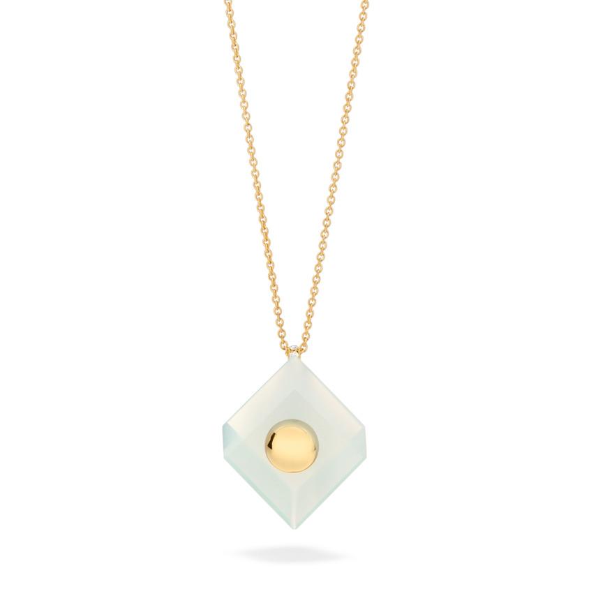 18k Yellow Gold Aqua Chalcedony Pendant Necklace – Deco Square Pendant – White Diamond | Yael Sonia