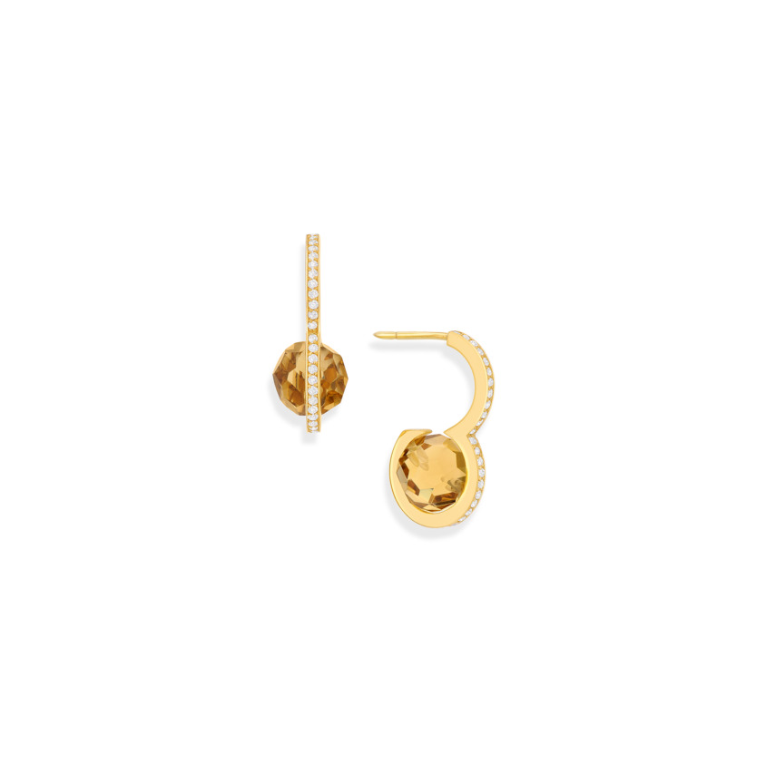Diamond & Faceted Citrine Drop Earrings – DNA Earrings Gold | Yael Sonia