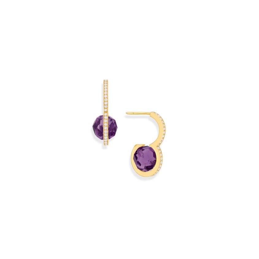 Diamond & Faceted Amethyst Drop Earrings – DNA Earrings Gold   Yael Sonia
