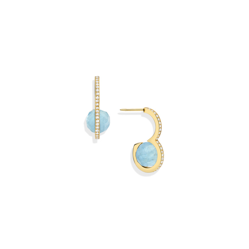 Diamond & Faceted Aquamarine Drop Earrings – DNA Earrings Gold   Yael Sonia