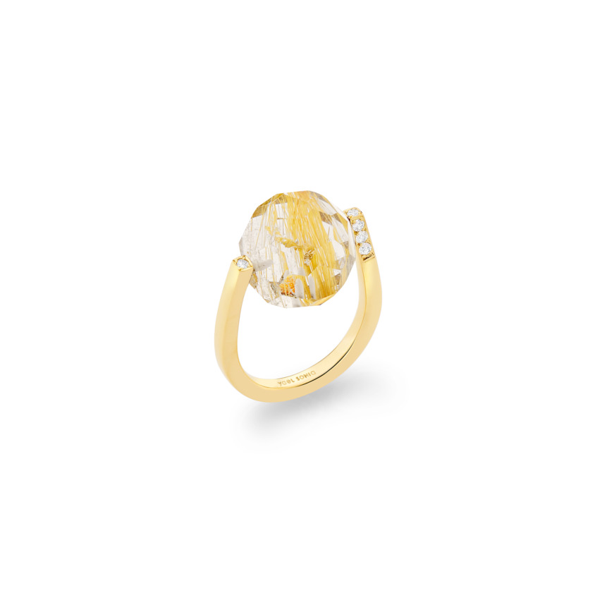 Diamond & Large Faceted Gold Rutilated Quartz Ring Gold – Large Twist Ring | Yael Sonia