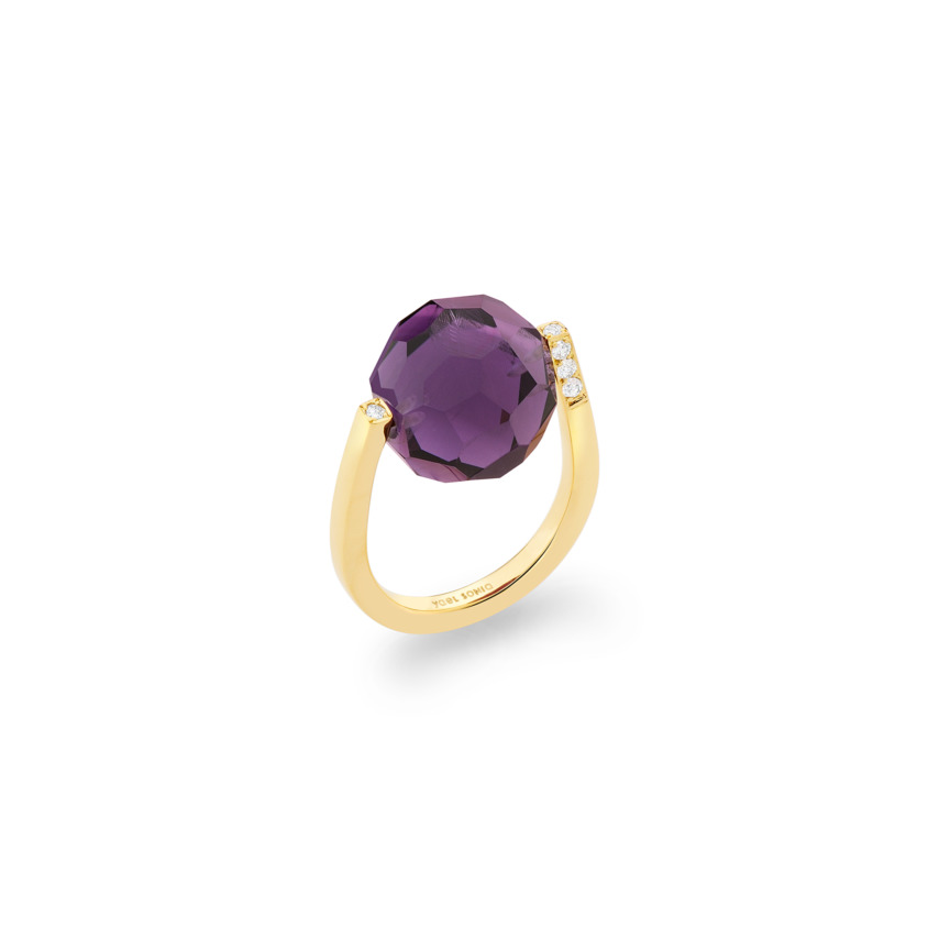 Diamond & Large Faceted Amethyst Ring Gold – Large Twist Ring | Yael Sonia