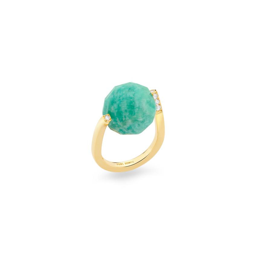 Diamond & Large Faceted Amazonite Ring Gold – Large Twist Ring | Yael Sonia