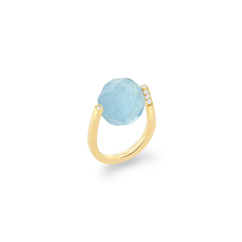 Diamond & Large Faceted Aquamarine Ring Gold – Large Twist Ring | Yael Sonia