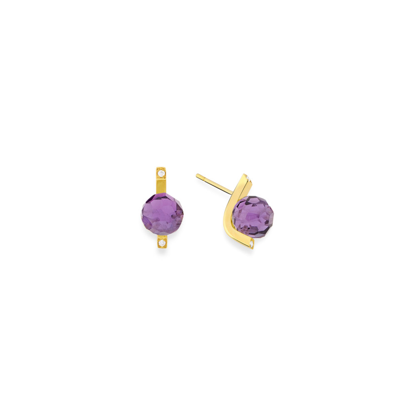18k Gold Diamonds & Faceted Amethyst Stud Earrings – Small Faceted Stud Earrings | Yael Sonia