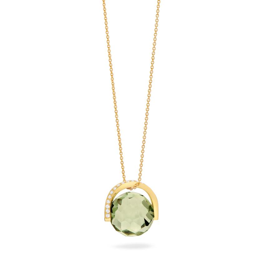 18k Gold Diamond & Rotating Natural Prasiloite Stone Necklace – Twist Pendant | Yael Sonia