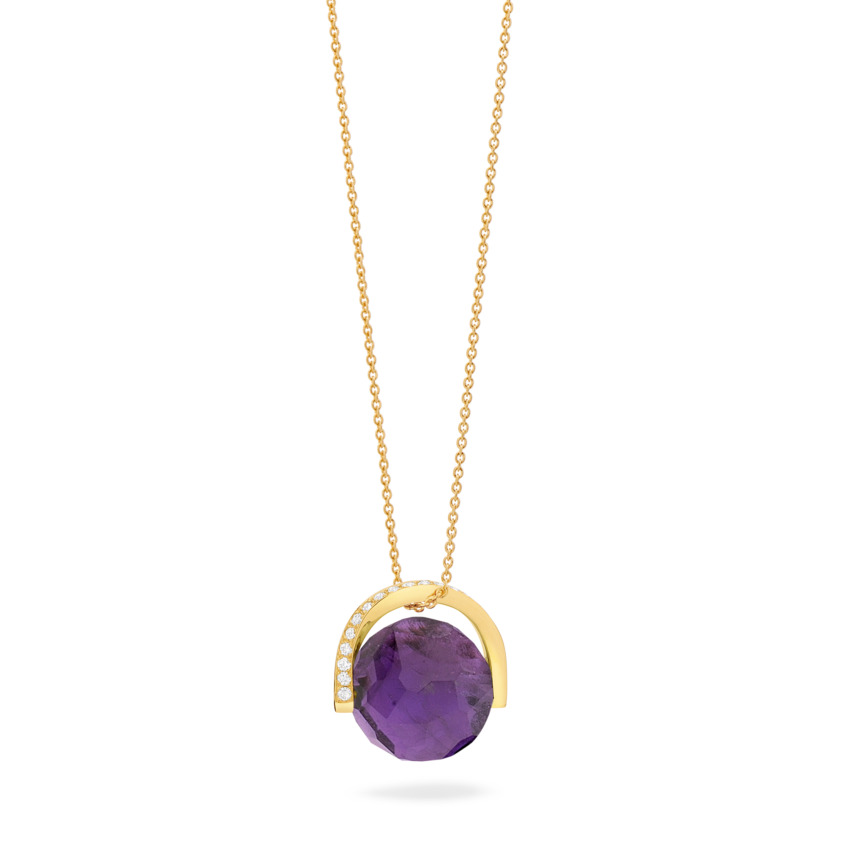 18k Gold Diamond & Rotating Natural Amethyst Stone Necklace – Twist Pendant | Yael Sonia
