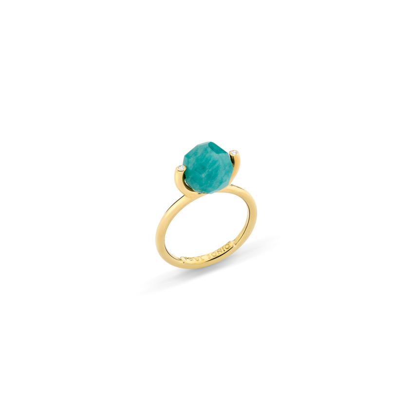 18k Gold Diamond & Faceted Amazonite Stacking Ring – Small Faceted Brilliant Fancy Stacking Ring | Yael Sonia