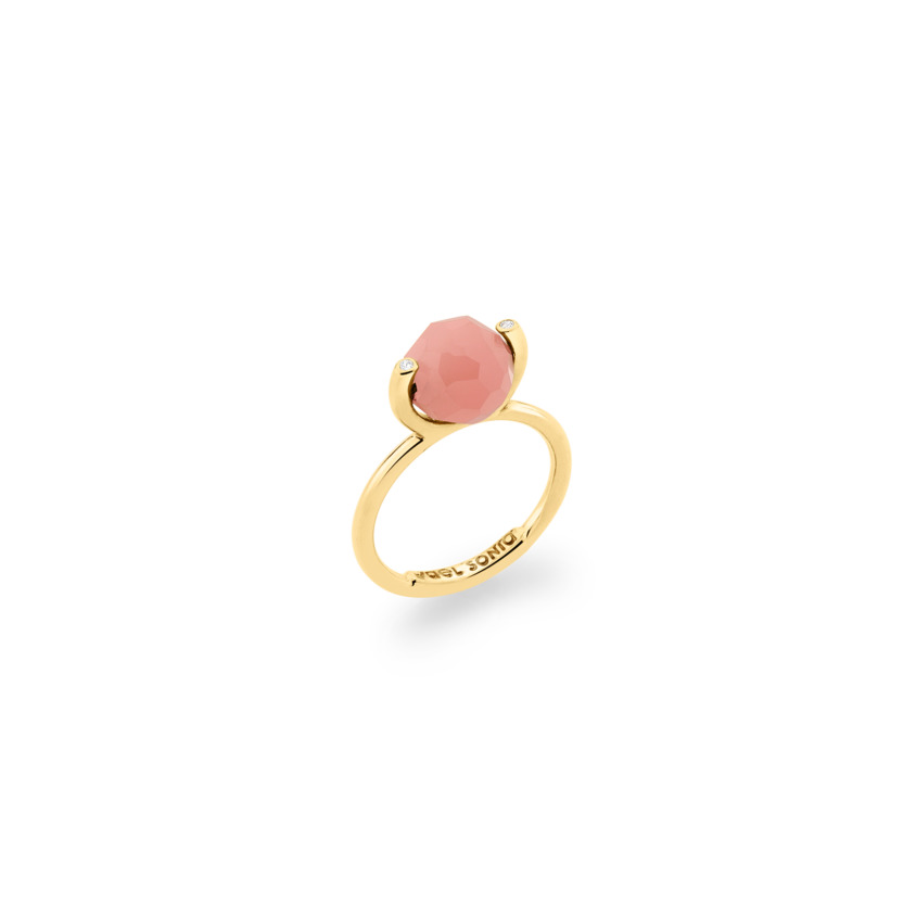 18k Gold Diamond & Faceted Guava Quartz Stacking Ring – Small Faceted Brilliant Fancy Stacking Ring | Yael Sonia
