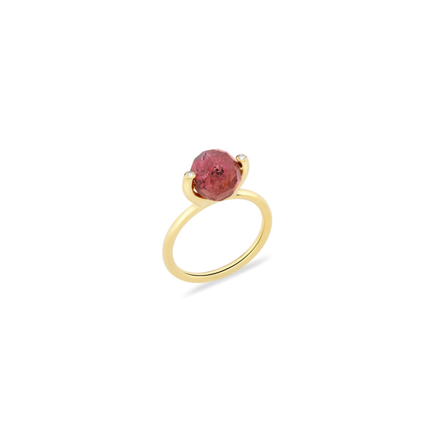 18k Gold Diamond & Faceted Pink Tourmaline Stacking Ring – Small Faceted Brilliant Fancy Stacking Ring | Yael Sonia