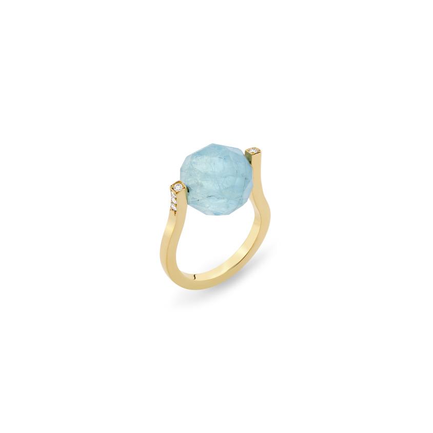 18k Gold, 0.12ct Diamonds & Faceted Aquamarine Ring – Small Twist Ring | Yael Sonia