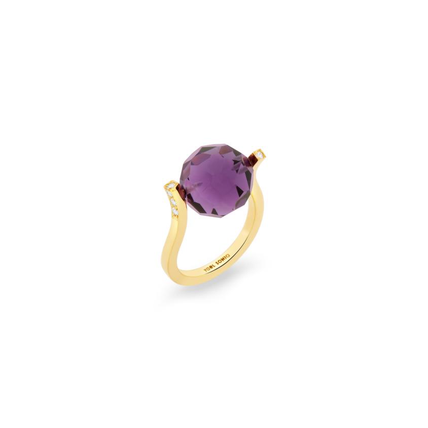 18k Gold, 0.12ct Diamonds & Faceted Dark Amethyst Ring – Small Twist Ring | Yael Sonia