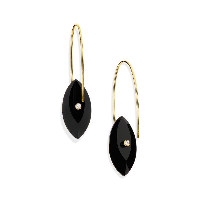 Gold, 0.06 carat Diamond & Onyx Earrings – Reverse Fit Navette Earrings | Yael Sonia
