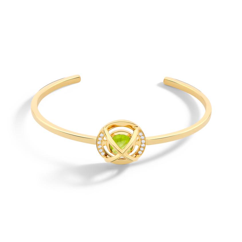 Diamond & Round Peridot Cabochon Cuff Bracelet Gold – Meteor Brilliant Small Cuff | Yael Sonia