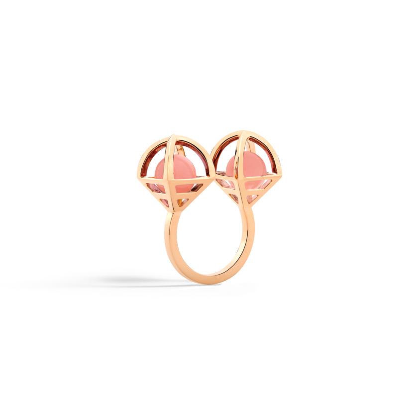 18k Rose Gold Celestial Guava Quartz Ring – Solar Duo Ring | Yael Sonia