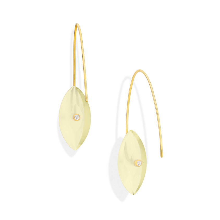 Gold, 0.06 carat Diamond & Lemon Quartz Earrings – Reverse Fit Navette Earrings | Yael Sonia