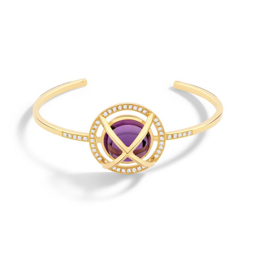 Diamond & Round Amethyst Cabochon Cuff Bracelet Gold – Meteor Brilliant Medium Cuff | Yael Sonia