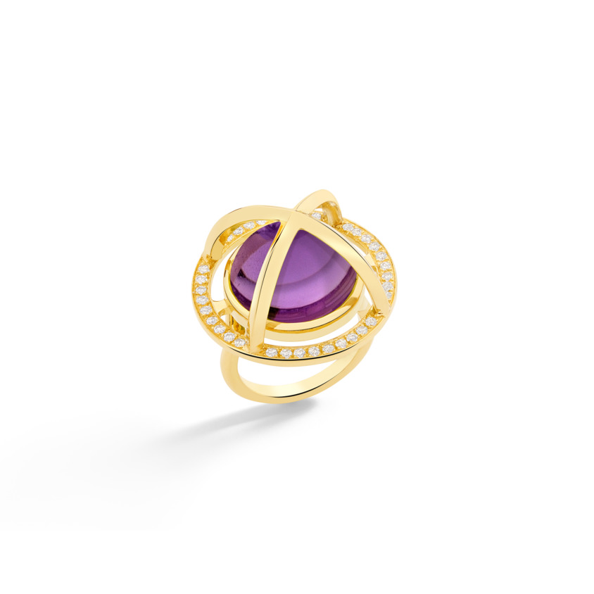 Diamond & Round Amethyst Cabochon Ring Gold – Meteor Brilliant Large Ring 15mm | Yael Sonia